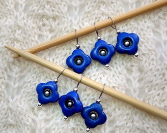 knitting stitch markers - snag free - cobalt indigo semi precious stones 15mm flowers - set of 6 - two loop sizes available