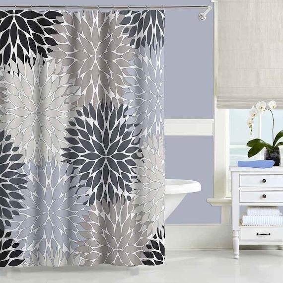 gray shower curtain black blue beige bathroom curtain modern. Black Bedroom Furniture Sets. Home Design Ideas
