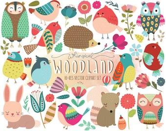 Woodland Clipart - Cute Forest Animal Clip Art - Set of 40 Vector, PNG, & JPG Designs - Summer Clip Art, Floral Clipart