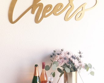 "Large Cheers Sign - Wedding Sign - Backdrop Sign - Birthday Sign - Laser Cut Wood 37"" Wide x 18"" tall - Shipped anywhere in USA"