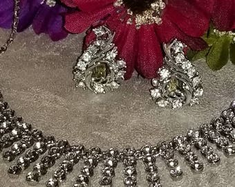 Rhinestone Bib Choker and Clip Earrings, Silver Tone,  Exquisite Rhinestone Set, Formal Wear, Event, Party, Wedding Accessories