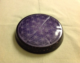 Orgone Nano ASG charging disc with a Flower of Life, Rhodizite and Shungite, 3 in by 1/3 in