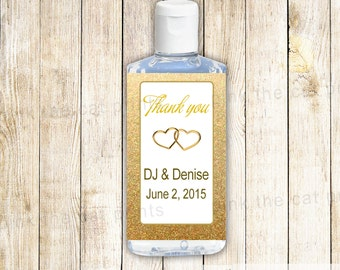 Gold Glitter Hearts Bridal Shower Wedding Engagement Hand Sanitizer Label - Also Adult Birthday Printable File Personalized