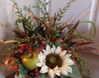 Fall Sunflower Pumpkin Tabletop Centerpiece