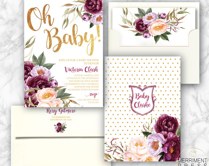 Burgundy Floral Baby Shower Invitation / Oh Babyl / Watercolor / Purple / Pink / Flowers / Crest / Gold Foil / FLORENCE COLLECTION