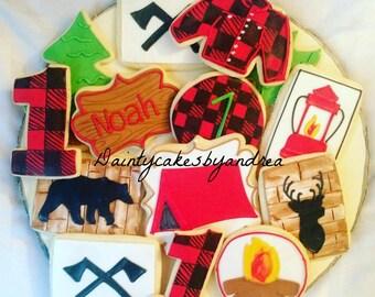 1 dozen lumberjack camping cookies!