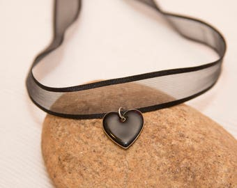 Black ribbon choker, black heart choker, heart charm, black choker, heart charm choker, black choker necklace, heart charm choker, choker