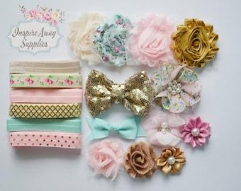 Shabby Chic headband kit , MAKE 12 DIY headbands, baby shower headband kit, DIY baby headbands, headband station