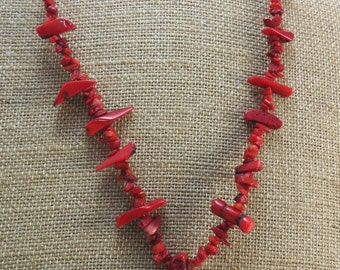Red Bamboo Coral Chips, 15 inch Strand, Red Coral Branches, Ready to Make a Necklace, Item 1067gsc