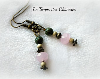 Bronze earrings pink blush faceted glass beads and Green Clay beads