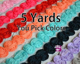 5 Yards - Non Frayed Chiffon Shabby Bow Trim - U pick colors - 10 Colors to Choose From - diy Bow Headband - fabric bows embellishments