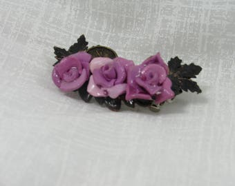 Vintage barrette ,purple rose barrette , rose barrette ,hair clip ,hair accessories ,Howling  Dog  Jewelry ,gift for her