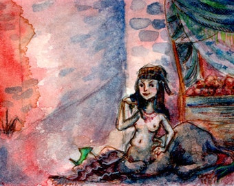 ACEO fantasy watercolor print - Sphinx on Haruspex Way