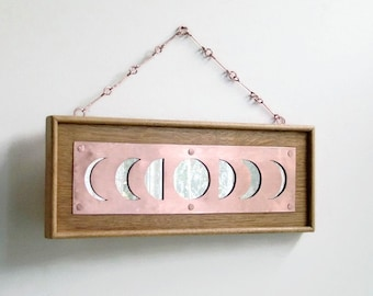 Moon Phase Mirror, Copper Oak Mirror, Copper Moon Phase, Unique Wall Mirror, Decorative Wall Mirror, Oak Mirror, Reclaimed wood, Wood Frame