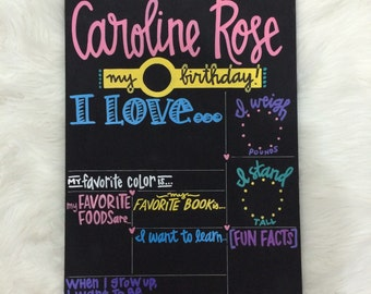 NEW Reusable BIRTHDAY CHALKBOARD | fill in the blanks | choose your colors, categories | hand painted | photo prop