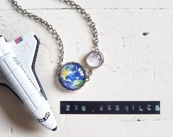 Eclipse Necklace // Solar System Necklace // Space Jewelry // Galaxy Jewelry // Moon Necklace // Earth Jewelry