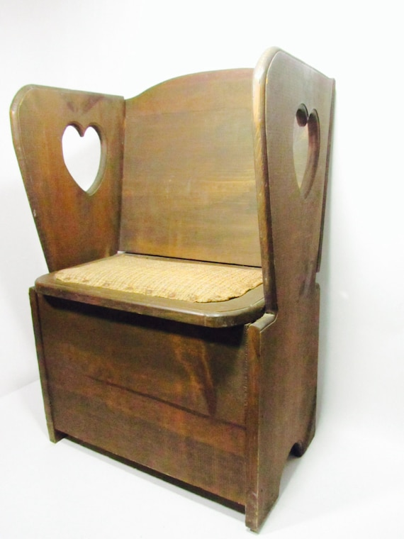 Like this item? - Antique Wood Child's Chair Toy Box Chair Storage Chair