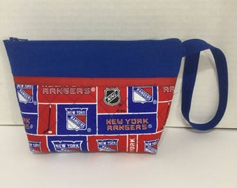 New York Rangers Cosmetic Bag - Wallet - Clutch - Zippered Pouch - Bridesmaid Gift - NHL Toiletry Bag - Makeup Bag - Travel Bag - Wristlet