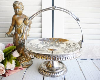 Wilcox Silverplate Serving Basket With Handle Art Deco Style Wedding Cake Basket  Flower Girl Basket  Dessert Stand Shabby Chic Decor