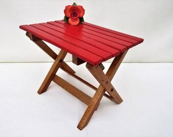 Vintage Wood Foot Stool | Wooden Step Stool | Slat Folding Chair | Camp Stool | Plant Stand | Folding Wood Stool