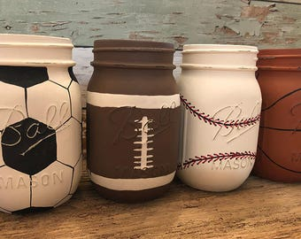 Handpainted Sports Mason Jars, Football, Soccer ball, basketball, baseball, kids decor, man-cave decor-Newly Updated Designs!