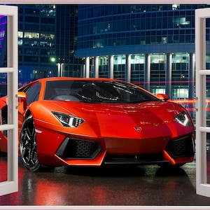 3D Window View Lamborghini Aventador Super Car Wall Decal Sticker Frame  Mural Effect Home Decor Bedroom