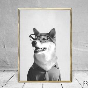 Dog with Glasses Print, Nursery Animal Decor Wall Art, Large Printable  Poster, Digital