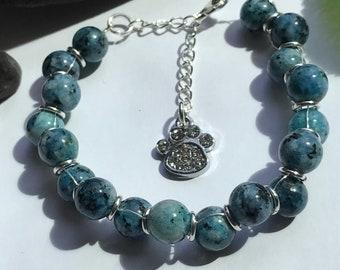 Blue Stone Bracelet, Blue Bracelet, Goddess Bracelet, Blue Goddess Bracelet, Natural Stone Bracelet, Charm Bracelet, Paw Print Bracelet