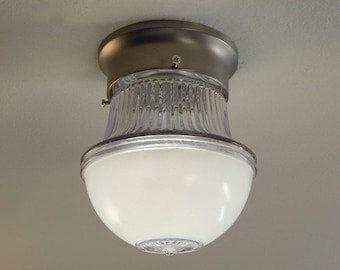 Flush Mount Light Fixture Vintage Glass Shade with New Fixture
