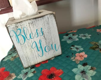 White distressed teal letters Bless you tissue box cover/gifts for her/rustic/hard to buy for