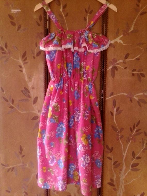 años 80 rosa brillante Sears tiras sol Vestido de flores