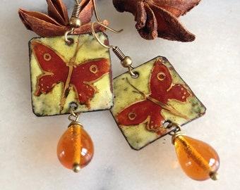 Bohemian earrings, enamel, copper enamel, square, Burgundy, green, nets gold butterflies, Topaz glass drop