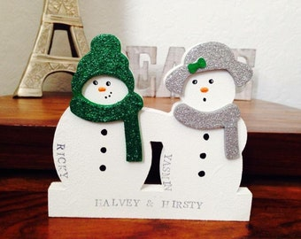2 person Classic personalised snowman family