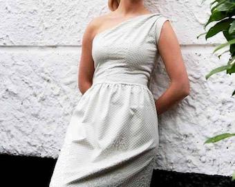 One shoulder blue below knee dress, women dress, off the shoulder dress, evening wear, evening dress, bridesmaid dress