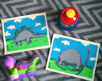 Dinosaurs - 11x14 Screenprinted Art Print Set