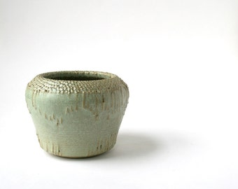 Pierced Ceramic Vessel - Contemporary Home - Rustic Modern Decor - Pale Green Clay Vessel - Silver Green Pottery Vase - Small Clay Gift