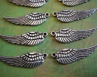 10 - Antique Silver - Tibetan - Angel Wing Charm (ASWC)