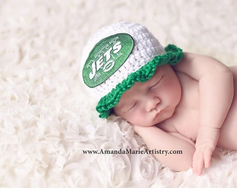 Baby girl Hat ..Football  Beanie --Baby Football hat - crochet baby shower gift--Coming Home Outfit, NY  Jets   Hat,,Newborn Photo Prop