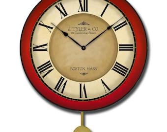 Galway Red Pendulum Wall Clock