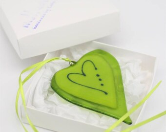 Lime green wonky love | handmade fused glass heart | handmade birthday gift