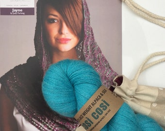 Turquoise Lace Shawl Knitting Kit in Alpaca and Silk with Canvas Drawstring Project Bag