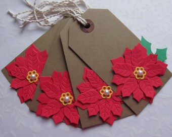 Christmas Gift Tag, Layered Poinsettia, Red, Green, Kraftpaper Cardstock, Pearl Center, Cotton Twine, Set of 4, Tags, Favor Tags, Handmade