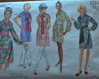 Vintage 1970s Simplicity 9219 Sewing Pattern, Tunic Top, Belted Dress, Mini Dress, Wide Collar Dress, Sash Size 14 Bust 36