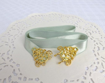 Mint green elastic waist belt. Gold filigree buckle. Bridal/ Bridesmaid wedding belt. Dress belt. Light green belt. Pastel green belt.