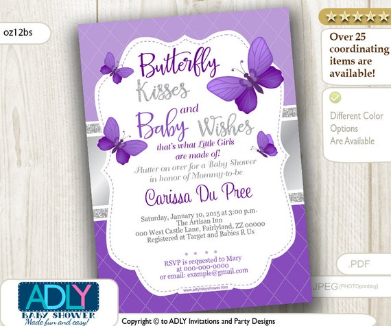 Purple silver butterfly invitation for baby shower with silver filmwisefo Choice Image