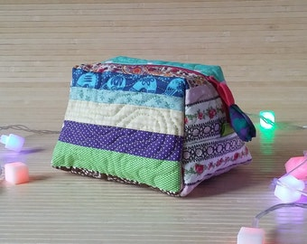 Patchwork pouch Boho quilted cosmetic bag Makeup bag Gifts for girls