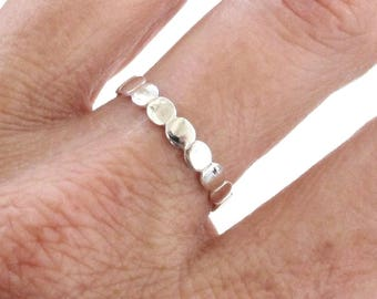 Sterling Silver Ring, Silver Oval Ring, Connected Ovals Ring, Silver Stacking Ring, Geometric Ring