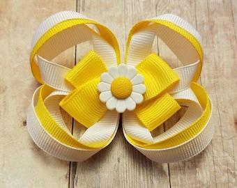 Daisy Inspired Loop Bow, Loop Clip, Daisy Clip, Hair Bow, Hair Clip,, Loop Hair Bow, Daisy Loop Hair Bow
