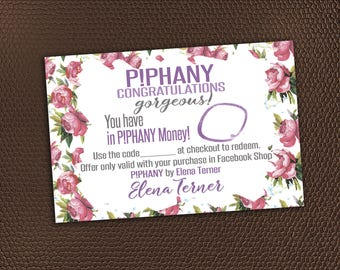 Piphany Business Cash Coupon - Piphany Coupon - Money - Printable voucher cards gift certificate - Dollars - Bucks  - PRINTABLE