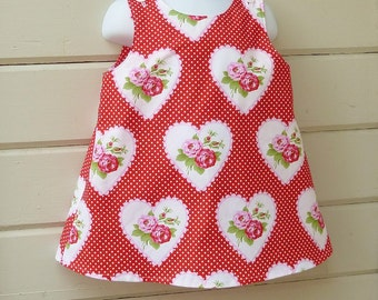 Valentine's Day Dress in Toddler Girl's Size 1T through 4T by custom order